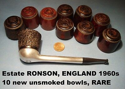 "ESTATE SYSTEM-PIPE ENGLAND 60s ""RONSON ENGLAND"" with 10 NEW UNSMOKED BOWLS RARE"