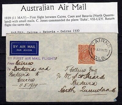 AUSTRALIA , 1939 , very nice early FIRST FLIGHT airmail cover , LOOK !