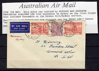 AUSTRALIA , 1936 , very nice early FIRST FLIGHT airmail cover , LOOK !