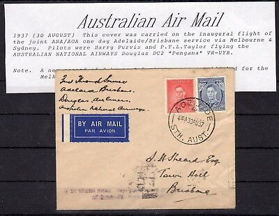 AUSTRALIA , 1937 ,  nice early FIRST FLIGHT airmail cover , ADELAIDE - BRISBANE