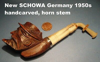"NEW UNSMOKED BRIAR GERMANY 1950s ""SCHOWA"" HANDCARVED PIPE w. HORN STEM UNIQUE++"