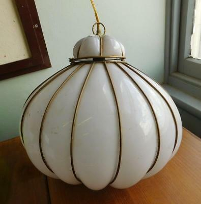 HUGE Murano Italian Glass Blown in Frame Ceiling Light Shade Fitting 1950s
