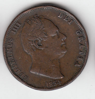 Gb 1/2D 1834 Large William 4Th Copper          158Z            By Coinmountain