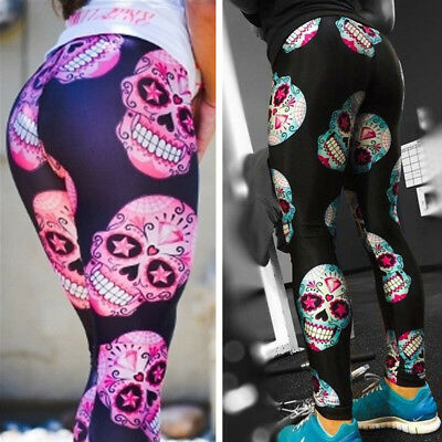 Women Sexy Sports Yoga Skull Print Leggings Fitness Gym Stretchy Trouser Pants