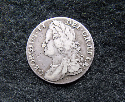 1745 KING GEORGE II SHILLING Roses in Angles rare
