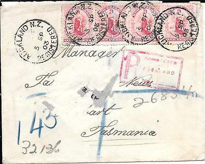 NEW ZEALAND 1d UNIVERSAL COVER TO TATTERSALLS TASMANIA 1903.
