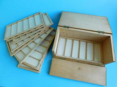 Excellent Boxwood Microscope Slide Case Box Selby & Co Melbourne ca1930-50.