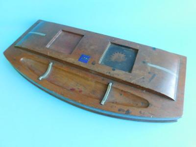 Large Australian Maritime Art Deco Ink stand Inkwell Timber from the HMAS SYDNEY