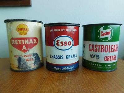 3 Aust Vintage Grease Oil Cans ESSO Chassis SHELL Retinax CASTROL c1950-60s Tins