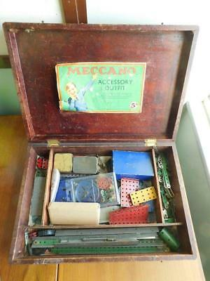 Antique MECCANO Accessory Outfit 5A Wooden Box & 3 Motors Aircraft and Parts