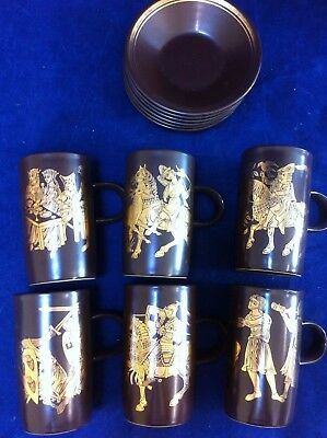 Purbeck pottery coffee set, brown with gold medieval design##SWA16JM