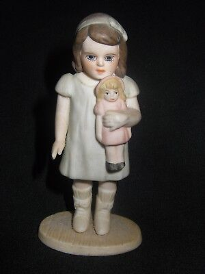 Girl and Doll - Bisque Porcelain Figure