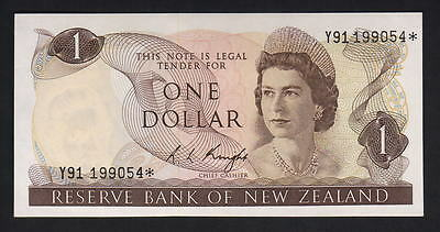 New Zealand  P-163c. (1975-77) $1 - STAR Note.. Prefix Y91..  UNC