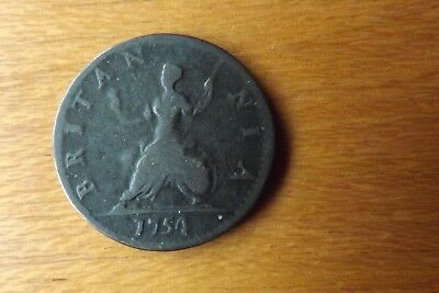British George II Farthing Coin 1754 Very Good Grade Very Collectable Example.