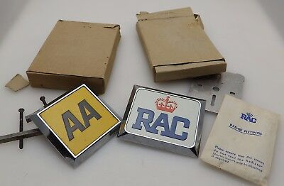 2 Vintage Chrome Car Badges - AA & RAC