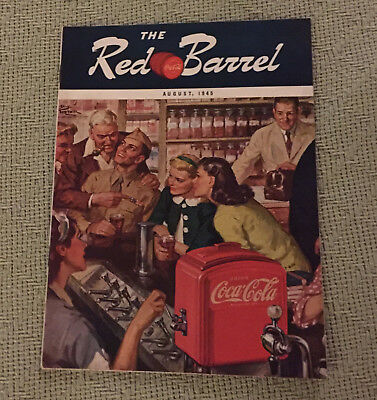 Vintage August 1945 The Red Barrel Coca-Cola Magazine Soldier at Soda Fountain