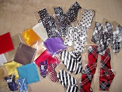 Wholesale job lot childrens kids  ties & pocket squares x 40 items NEW