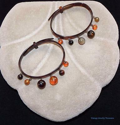 Antique Vintage Pair of Lucite Bracelets with Dangle Beads