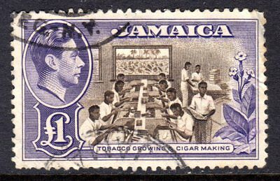 Jamaica KGVI  1938-52  £1 Chocolate & Violet SG133a Used (See Description)