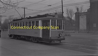 Connecticut Company Original B&w Trolley Negative Car 1585 In New Haven In 1947