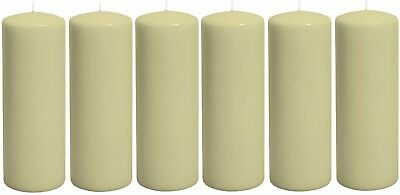 6 x Classic Candles Church Pillar Candles (Large) (7cm x 20cm) Tall Red or Ivory