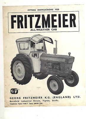 Fritzmeier Cab Tractor Brochure Leaflet Fitting Instructions Ford, County, Doe