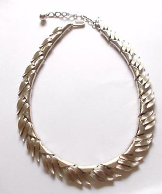 VINTAGE 1950's SIGNED CROWN TRIFARI SILVER TONE PANEL COLLAR NECKLACE