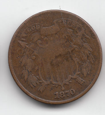 U.s.a. 2 Cents 1870 Copper Scarce           189Z         By Coinmountain