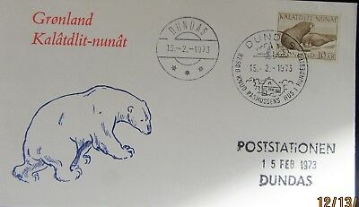 1973 Greenland Dundas Cover Un-Adressed Stamp 10 Kr .