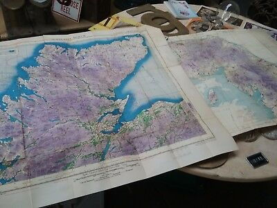 Two vintage Air Force maps Scotland and the border