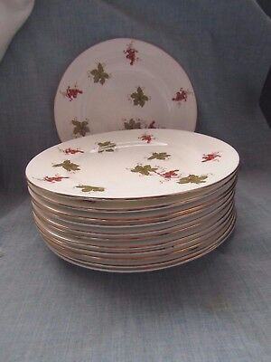 """Royal Victoria Fine Bone China  8 """" Luncheon Plates Grapes And Leaves Set Of 12"""