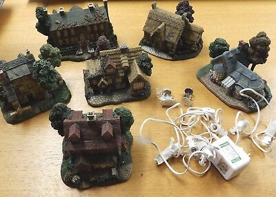 Set of 6 Thomas Kinkade Lamplight Hawthorne Village Buildings w/ Working Lights