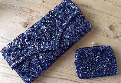 Vintage Navy Beaded Clutch Bag And Matching Purse