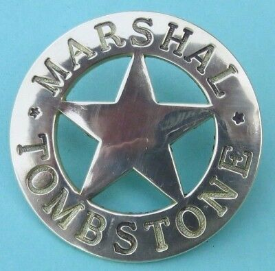 """""""  MARSHAL """"    TOMBSTONE    <>  l a r g e  <>  BRASS  BADGE  <>  UNUSED"""