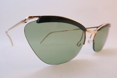 Vintage 50s sunglasses gold filled green brow supra NYLOR SOL glass lens France