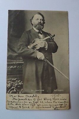 Vintage Photographic Printed  Postcard - Dr JOACHIM - Posted - 1905