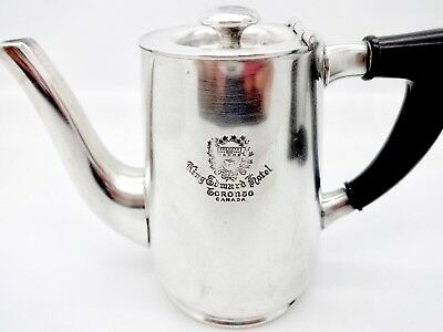 Antique Crested King Edward Hotel Toronto Silver Personal Size Teapot,benedict