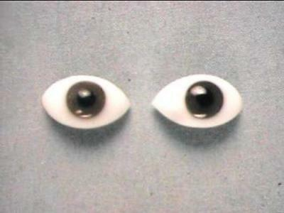 GLASS Elliptical Brown Doll Eye Pair about 1/2in Long