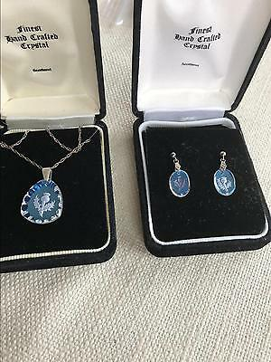 Scottish Crystal hand crafted THISTLE silver 925 necklace earrings