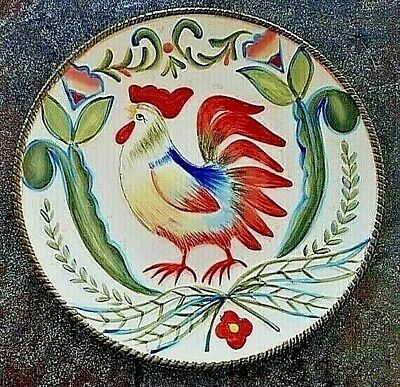 Set of 4 FITZ AND FLOYD GLENNBROOK Rooster Salad Dessert Accent Plate Stoneware