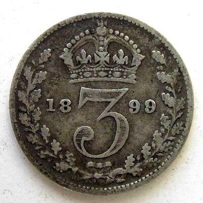 Great Britain Uk Coins, Threepence 1899, Victoria, Silver 0.925