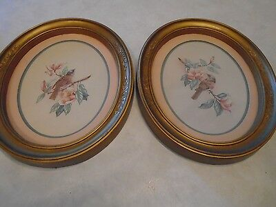 Two Oval Bird Pictures Framed Homco