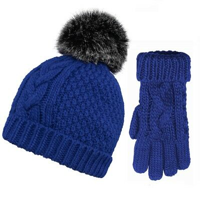 'Sydney' Textured Cable Knit Bobble Hat & Gloves Matching Set Blue/Yellow/Red