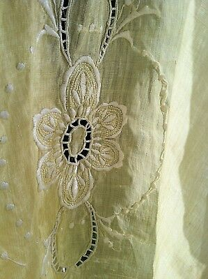 Vintage Antique GORGEOUS soft yellow open white work 1920's Art Deco TABLECLOTH