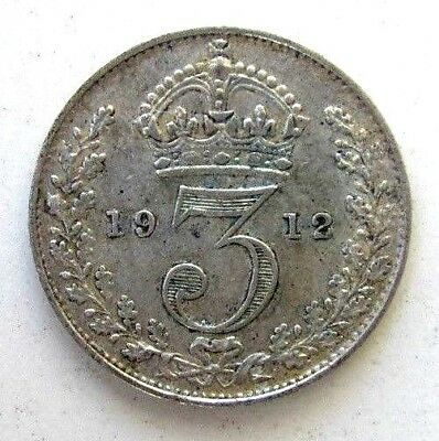 Great Britain Uk Coins, Threepence 1912, George V, Silver 0.925