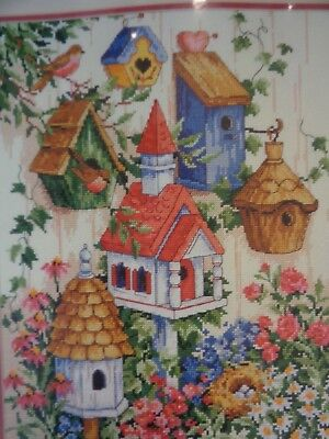 Dimensions Sunset  Counted Cross Stitch Kit 13594 From 1994 BIRDHOUSE GARDEN
