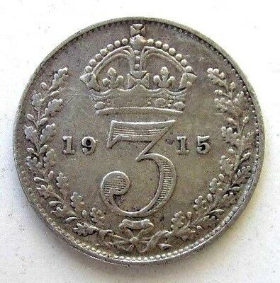 Great Britain Uk Coins, Threepence 1915, George V, Silver 0.925
