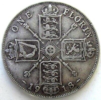 Great Britain Uk Coins, One Florin 1918, George V, Silver 0.925