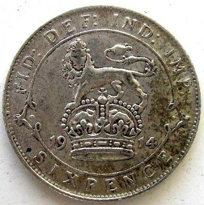 Great Britain Uk Coins, Sixpence 1914, George V, Silver 0.925