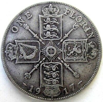 Great Britain Uk Coins, One Florin 1917, George V, Silver 0.925